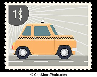 postage stamp - Postage stamp with retro taxi cars
