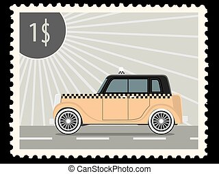 postage stamp - Postage stamp with retro taxi cars.