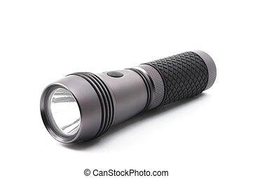 flashlight - outdoor flashlight isolated on a white...