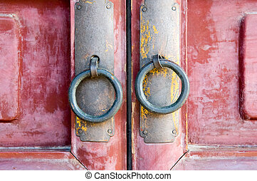 Door knocker - Doorways to traditional chinese house with...