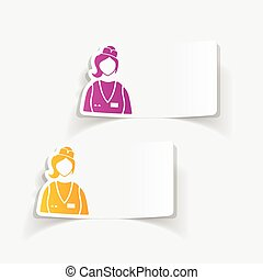 realistic design element saleswoman