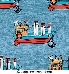 seamless fish - Beautiful Seamless of ship background.