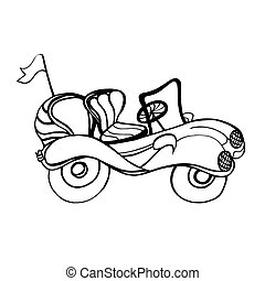 Car Convertible style of childrens drawings Monochrome