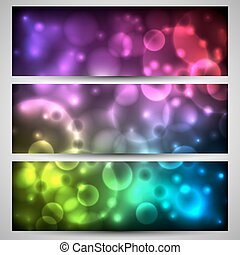 Set of banner with bokeh on background with colorful flashes