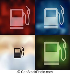 gas station icon on blurred background