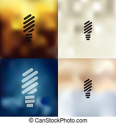 fluorescent light bulb icon on blurred background