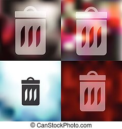 trash can icon on blurred background