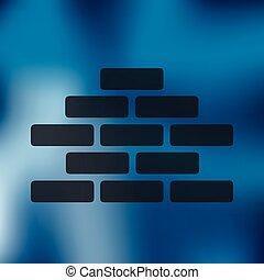 brickwork icon on blurred background