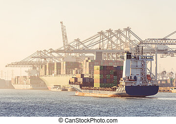Container ships arriving and being unloaded at a transhipment harbor