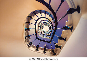 Spiral staircase - Asymmetric spiral staircase leading up...