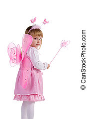 Little girl in pink fairy costume
