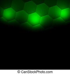 Green light on hexagon wall. Tile.