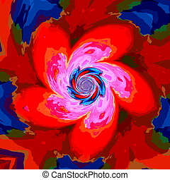 Red blue psychedelic background.