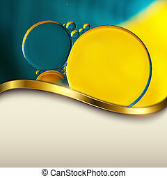 Abstract background with oil drops on water, macro with...
