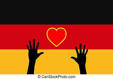 Refugees relying on Germany - Concept sign for the German...