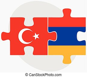 Turkey and Armenia Flags in puzzle isolated on white...