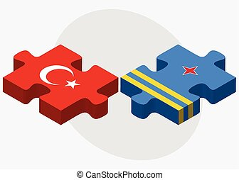 Turkey and Aruba Flags in puzzle isolated on white...