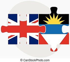 United Kingdom and Antigua and Barbuda Flags in puzzle...