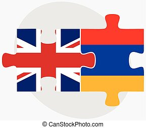 United Kingdom and Armenia Flags in puzzle isolated on white...