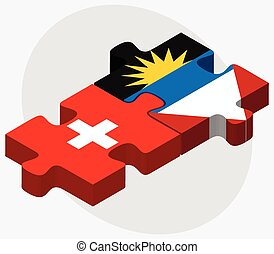 Switzerland and Antigua and Barbuda Flags in puzzle isolated...