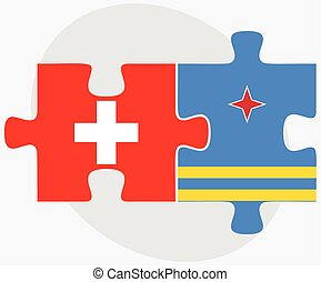 Switzerland and Aruba Flags in puzzle isolated on white...