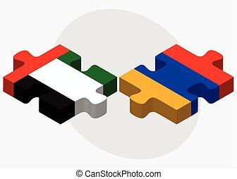 United Arab Emirates and Armenia Flags in puzzle isolated on...