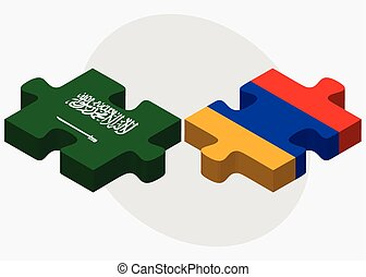 Saudi Arabia and Armenia Flags in puzzle isolated on white...