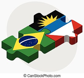 Brazil and Antigua and Barbuda Flags in puzzle isolated on...