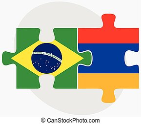 Brazil and Armenia Flags in puzzle isolated on white...