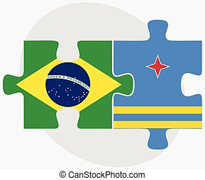 Brazil and Aruba Flags in puzzle isolated on white...