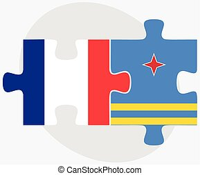 France and Aruba Flags in puzzle isolated on white...