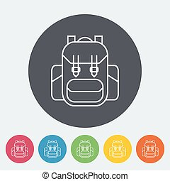 Rucksack. Single flat icon on the circle. Vector...