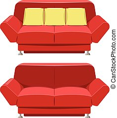 Red sofa couch vector design. Front view