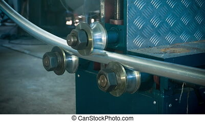Aluminium tube bending process closeup