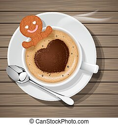 ginger bread in cup of hot coffee - ginger bread soak in cup...