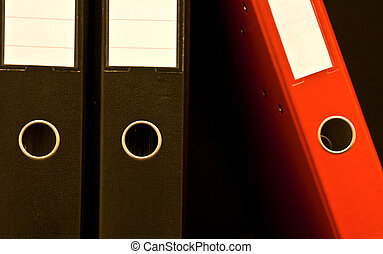Data - Two black and one red office document board isolated