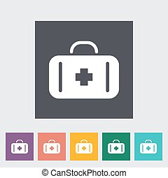 First aid. Single flat icon on the button. Vector...