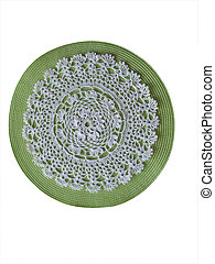 Crochet doily background - white crocheted doily on green...