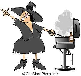 Hexe, grillen, Burger