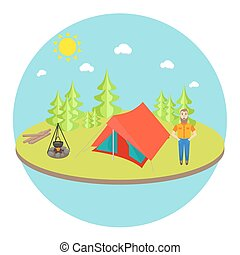 Outdoor landscape background with camp tent