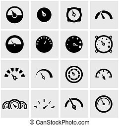 Vector black meter icon set on grey background