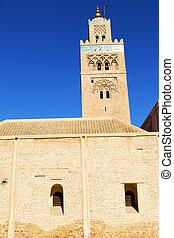 in maroc africa the blue sky - in maroc africa minaret and...
