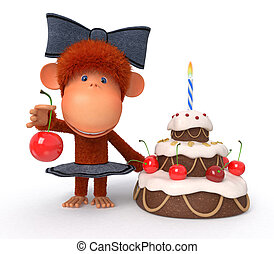 The 3D monkey with a pie - The primacy celebrates Birthday...