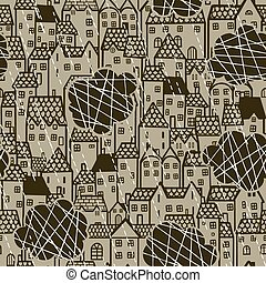 rain over the city seamless pattern - Seamless retro pattern...