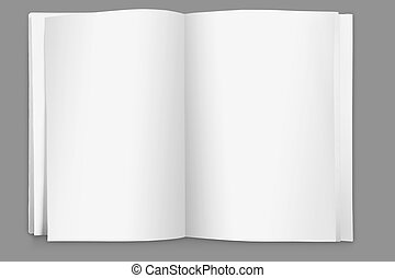 blank page open book on white background - close up portrait...
