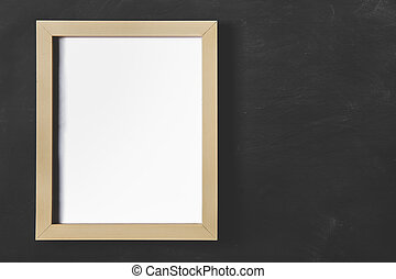empty wooden photo frame on black board for background -...