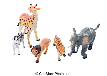 Toy Animals - Small toy animals ioslated on a white...