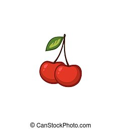 Vector Fruits - Cherries - A freehand vector of cherries