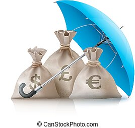 Umbrella protecting sacks with money currencies dollar euro and pound