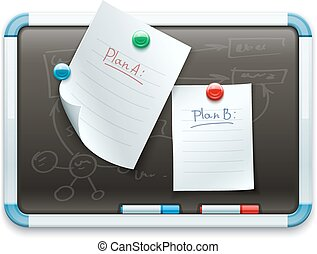 Office blackboard with pinned paper sheets and markers for...